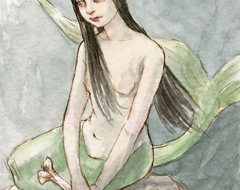 "Mermaid Illustration ACEO ""The Grim Little Siren"" Limited Edition Print by Amy Abshier Reyes 18/30"