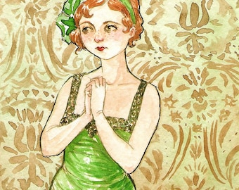 "Portrait Redhead Freckles Actress ""Clara Gets Stage Fright"" -- ACEO Limited Edition Print by Amy Abshier Reyes 9/30"