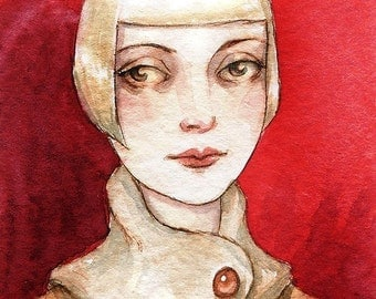 "ACEO Blonde Flapper Girl Art Deco Portrait Print ""Rare Pale Margaret"" by Amy Abshier Reyes 17/30"