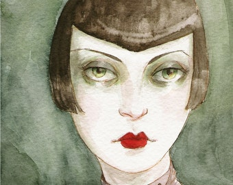"""Art Deco Flapper Girl Vamp ACEO """"The Shadowy Girl"""" Limited Edition Print by Amy Abshier Reyes 8/30"""