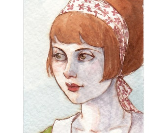 "Mod Redhead Girl Portrait ACEO Print ""A Remnant of Summer"" by Amy Abshier Reyes 7/50"