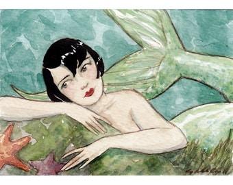 "Mermaid Siren Pretty Flapper Art Deco Portrait Print ""Marguerite"" by Amy Abshier Reyes 15/50"