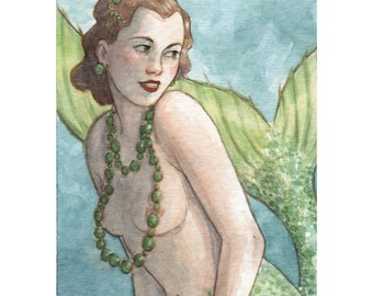 """Mermaid Siren ACEO Limited Edition Print """"The Flirtation"""" by Amy Abshier Reyes 14/50"""