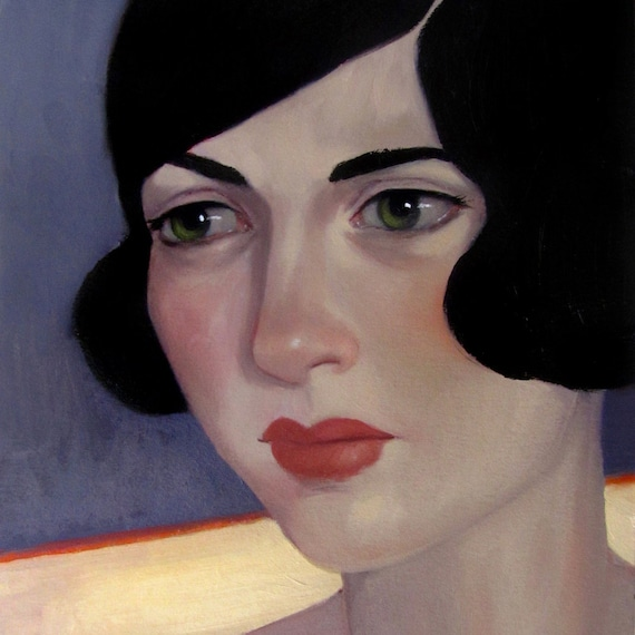 "Oil Painting Flapper Portrait Original ""Lost in the Fog"" by Amy Abshier Reyes"