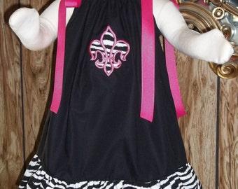 Personalized Ruffled Pillowcase Dress ~ Zebra Fleur de lis Applique ~ Hot Pink Applique FDL ~ Summer Toddler Dress ~ Vacation Dress