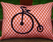 Unicycle Applique Bicycle Pillow Cover--12x16
