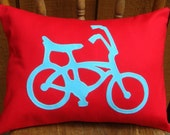 Retro Style Cruiser Bicycle Applique Pillow Cover in Red & Aqua Blue. Customizable.