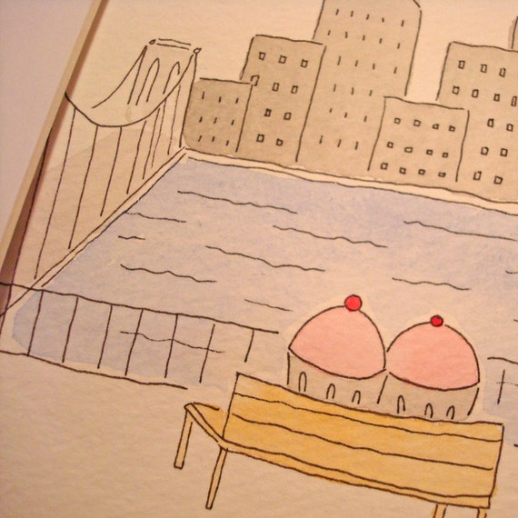 ORIGINAL WATERCOLOR PAINTING Cupcakes acting out Woody Allen
