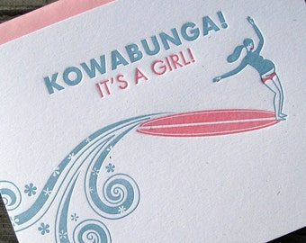 Kowabunga Baby Girl Card