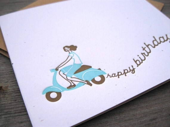 INVENTORY SALE - Birthday Scooter Girl Card