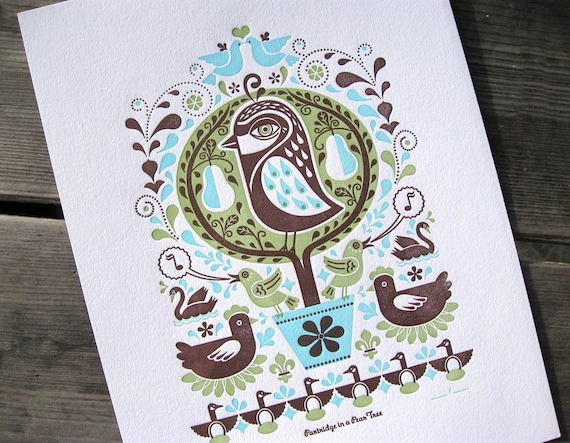 PRINT SALE - Partridge in a Pear Tree Print - green/aqua/brown - marked down 50%