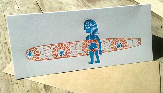 Longboard Surfer Girl Card