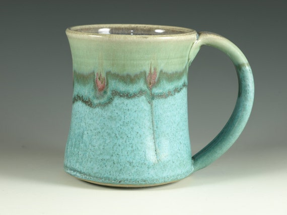 Large Coffee Mug , large Handle, turquoise,  stoneware (20oz) -- Perfect for Real Coffee Drinker