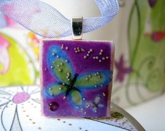 Scrabble tile pendant, Purple Butterfly, Scrabble piece charm/Scrabble tile jewelry necklace