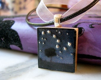 Scrabble tile pendant, BIG Dipper, Scrabble piece charm/Scrabble tile jewelry necklace