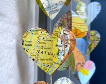 Travel theme wedding, travel theme party, paper garland, heart garland, travel themed bridal shower, Map garland, Map banner, Heart garland