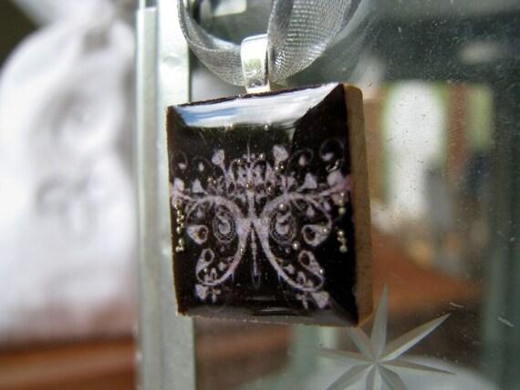 SALE Scrabble pendant, PAPILLON NOIR , in hand painted gift box
