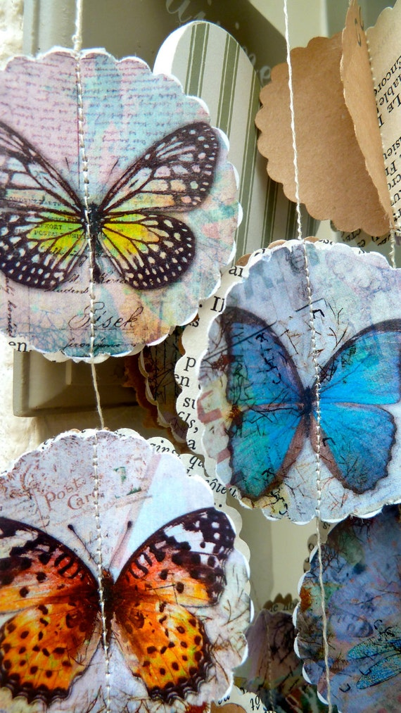 Sale, Garland/mobile, Vintage Butterfly, paper garland, great for weddings, birthday party, baby shower