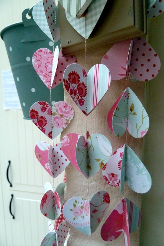 Designer paper garland/mobile, ROSY HEARTS, in 3d, limited edition