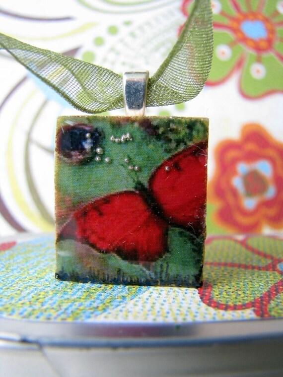 Scrabble tile pendant, RED BUTTERFLY, Scrabble piece charm/Scrabble tile jewelry necklace