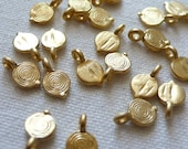 20 Mini Spiraled Disc Charms, 22K Gold Plated