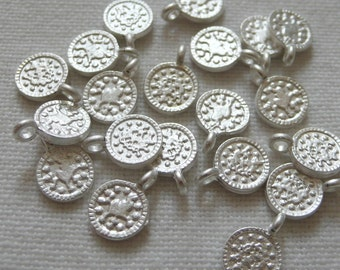 20 Mini Coin Charms, Silver Plated