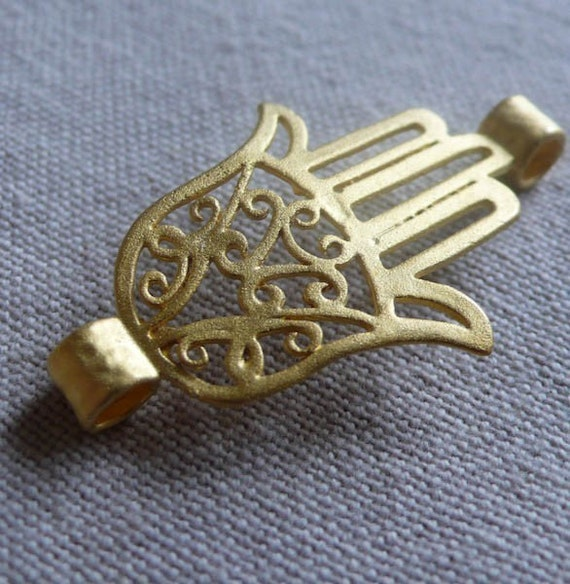 Small Hand of Fatima Connector, Gold Plated