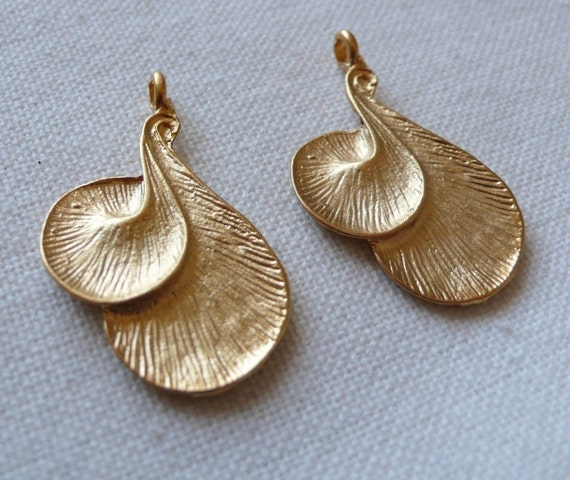 Organic Swirl Charms, Gold Plated