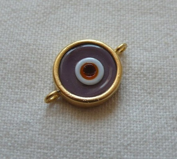 PURPLE Round Eye Glass Connector Pendant, Gold Plated