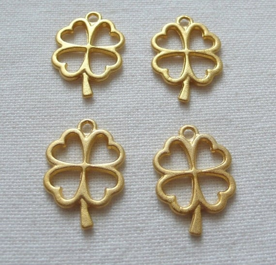 SPECIAL 4 Clover Charms, Gold Plated
