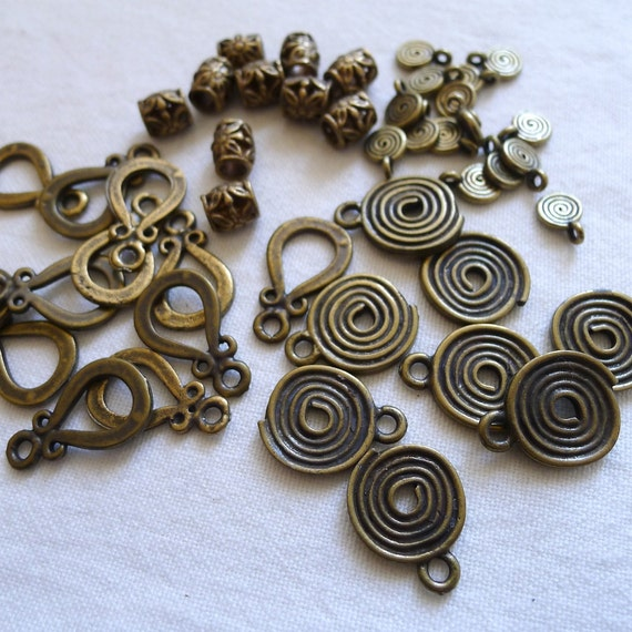 RESERVED for Sophia, CLEARANCE LOT 45 Pieces Antique Brass Plated Charms and Beads
