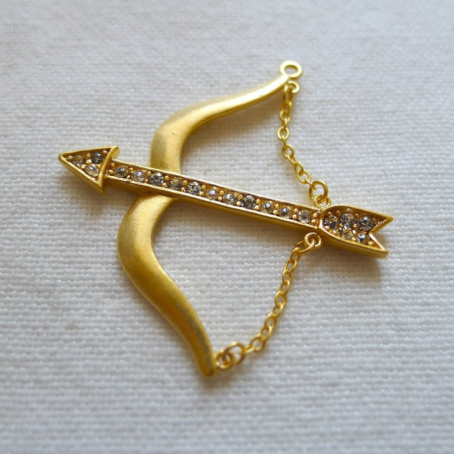 SPECIAL Bow and Arrow Pendant Gold Plated by lustrousthings Gold Bow And Arrow