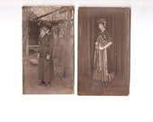 two vintage photographs women in costume 1920's