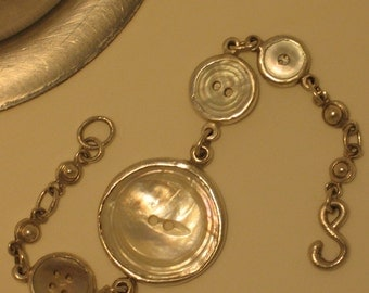 Silver Bracelet with Vintage Shell Abalone Buttons