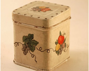 miniature painted metal canister ivory crackled paint with fruit designs