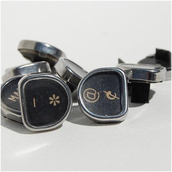 Nine Typewriter keys signs symbols vintage royal Tab Back Space question mark  asterisk