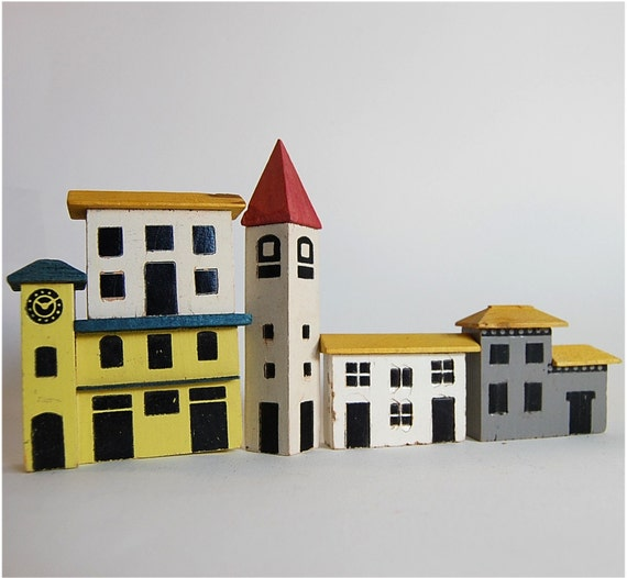 18 toy building blocks painted wood charming european village