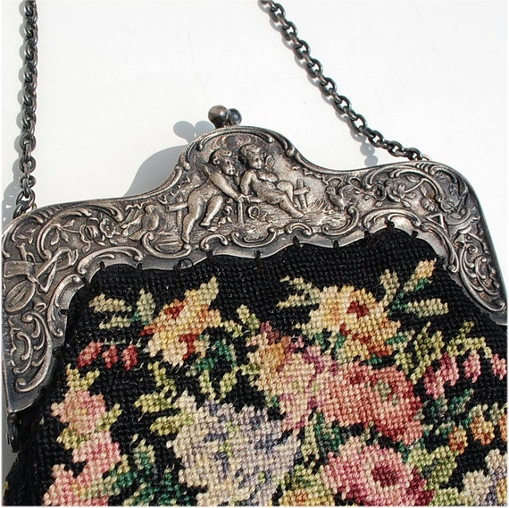 Vintage Victorian hand bag purse embroidered floral with silver frame