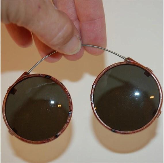 vintage Pince nez sunglasses, eye wear steam punk lenses no ear pieces