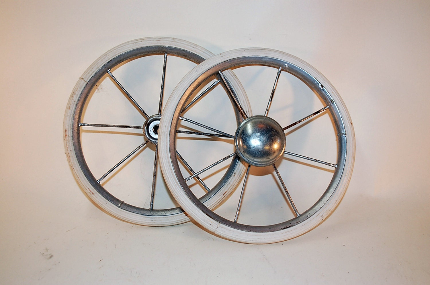 Two Large Vintage Baby Buggy Carriage Wheels 8 Inches