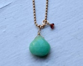 RESERVED for LLHERSELF  chrysoprase and garnet necklace