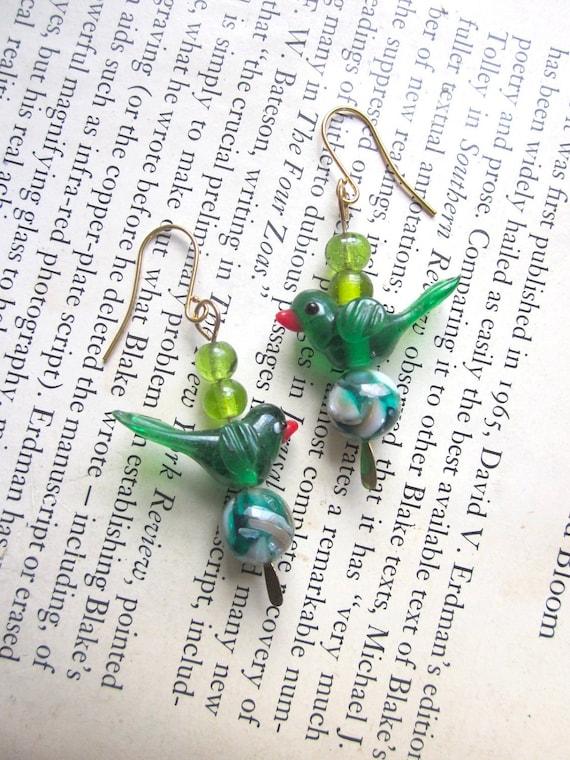 Green Glass Bird Earrings