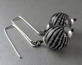 Zebra Black and White Stripe Glass Globe Earrings with Free USA Shipping
