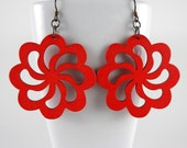 Big Beautiful Red Flower Earrings with Free Shipping