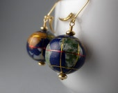 Globe Earth Stone Inlay Earrings with Free Shipping