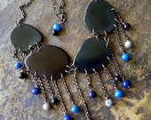 Black Gray and Blue Fringe Bib Tagua Necklace with Free Shipping