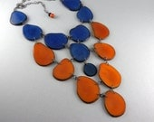 Eco Friendly Tagua Necklace in Blue and Orange with Free Shipping