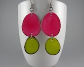 Hot Pink and Lime Green Tagua Nut Eco Friendly Earrings with Free Shipping
