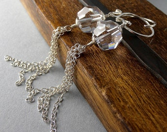 Crystal, Sterling Silver, and Swanky Chain Earrings with Free USA Shipping