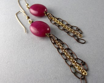 Fuchsia Shoulder Duster Earrings with Free USA Shipping